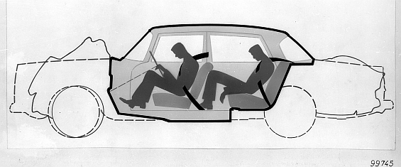 Erklärend: Schnittzeichnung des Mercedes-Benz der Baureihe W 111, zur Illustration der Sicherheitszelle. (Grafik: Daimler)