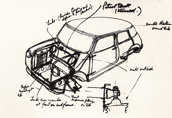 "So fing alles an: Handskizze des ""Mini-Vaters"" Alec Issigonis, 1958 (Abbildung: BMW Group)"