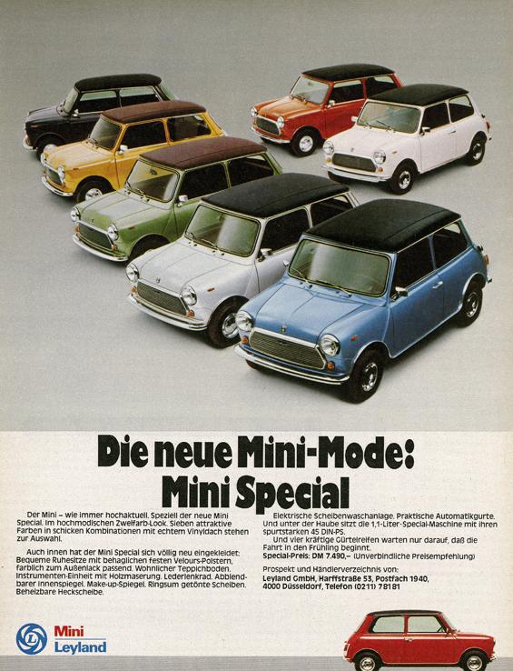 """Die neue Mini-Mode: Mini Special - Anzeige in """"Motorrad"""" 7/1977 der Leyland GmbH, Düsseldorf. (Abbildung: BMW Group)"""