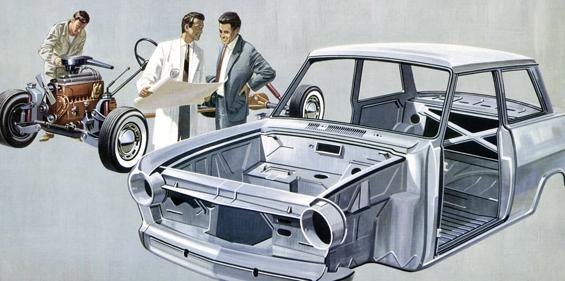 Zeichnung für den Prospekt des Opel Kadett A (Zeichnung: Opel)