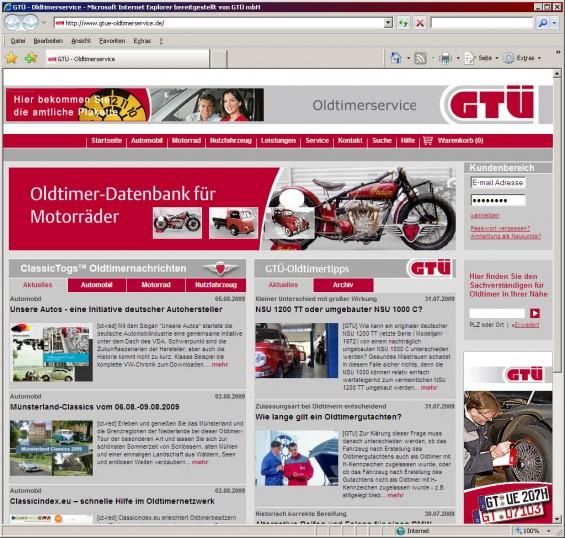 Die GTÜ hat ihre Oldtimerseite komplett überarbeitet (Abbildung: GTÜ)