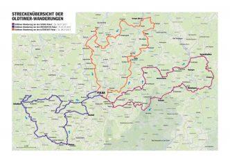 Die Routen der ADAC Deutschland Klassik 2017 vom 5. - 9. Juli: Bayern, Hessen und Thüringen (Grafik: ADAC/ADAC Klassik)
